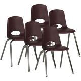 Stackable School Chair w/Chrome Legs, 18 seat height, Burgundy, Carton of 5