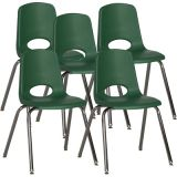 Stackable School Chair w/Chrome Legs, 18 seat height, Green, Nylon Swivel Glides, Carton of 5