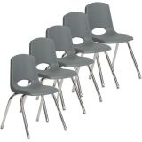 Stackable School Chair w/Chrome Legs, 18 seat height, Gray, Nylon Swivel Glides, Carton of 5