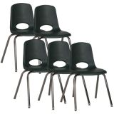 Stackable School Chair w/Chrome Legs, 18 seat height, Hunter Green, Carton of 5