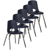 Stackable School Chair w/Chrome Legs, 18 seat height, Navy, Carton of 5