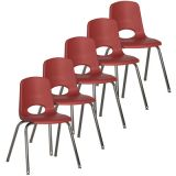 Stackable School Chair w/Chrome Legs, 18 seat height, Red, Carton of 5