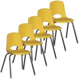 Stackable School Chair w/Chrome Legs, 18 seat height, Yellow, Carton of 5