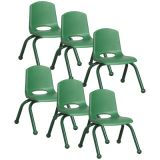 Stackable School Chair w/Matching Legs, 10 seat height, Green, Carton of 6