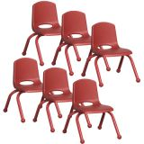 Stackable School Chair w/Matching Legs, 10 seat height, Red, Carton of 6