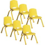 Stackable School Chair w/Matching Legs, 10 seat height, Yellow, Carton of 6