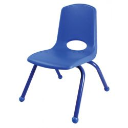 Stackable School Chair w/Matching Legs, 14 seat height, Blue, Carton of 6