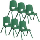 Stackable School Chair w/Matching Legs, 12 seat height, Green, Carton of 6