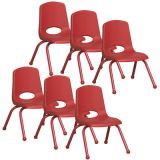 Stackable School Chair w/Matching Legs, 12 seat height, Red, Carton of 6