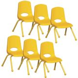Stackable School Chair w/Matching Legs, 12 seat height, Yellow, Carton of 6