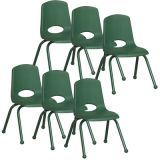 Stackable School Chair w/Matching Legs, 14 seat height, Green, Carton of 6