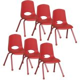 Stackable School Chair w/Matching Legs, 14 seat height, Red, Carton of 6