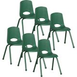 Stackable School Chair w/Matching Legs, 16 seat height, Green, Carton of 6
