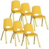 Stackable School Chair w/Matching Legs, 16 seat height, Yellow, Carton of 6