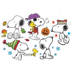 Fall/Winter Snoopy Pose Bulletin Board Set