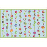 Blooming Alphabet Rug, 7'6 x 12' Rectangle, Blue