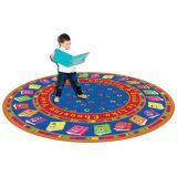 Circle Time Books Rug, 6' Round, Bright