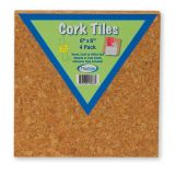 Cork Tiles, 6 x 6, Set of 4
