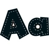 4 Fun Font Letters, Black Stitch