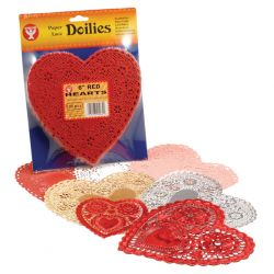 Doilies, 6 White Hearts