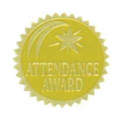 Gold Foil Embossed Seals, Attendance Award