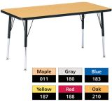 Berries® Adjustable Activity Table, Classic, 24 x 48 Rectangle, Yellow