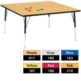 Berries® Adjustable Activity Table, Classic, 48 x 48 Square, Red
