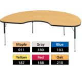Berries® Adjustable Activity Table, Classic, 48 x 72 Kidney, Gray