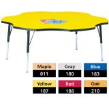 Berries® Adjustable Activity Table, Classic, 60 Six Leaf, Red