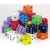 1 Foam Spot Dice, Assorted Colors, Bag of 50