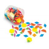 Plastic Pattern Blocks, Brights, 0.5 cm thick, Set of 250