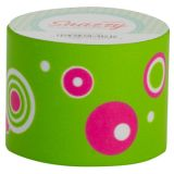 Snazzy Tape, Pink Graphic Circles on Green