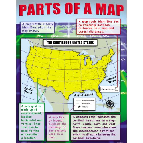 Basic Map Skills Teaching Poster Set MCP - Basic us map