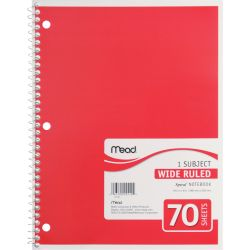 Subject Notebook, Wide Ruled, 3 subject, 120 pages
