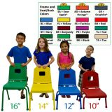 Creative Colors® Split Bucket Chair, 14 Seat Height, Fuchsia