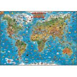 Dino's Children's Illustrated 500-Piece Jigsaw Puzzle, World Map