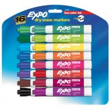 Expo® Low Odor Dry Erase Markers, Chisel Tip, 16-color set