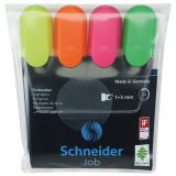 Schneider® Job Highlighters, Chisel Tip, 4-Color Assortment (Orange, Green, Pink, Yellow)