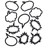 Superhero Black & White Speech/Thought Bubbles Accents