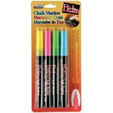 Bistro Chalk Markers, Fine Tip 4-Color Set, Fluorescent Pink, Blue, Green, Yellow