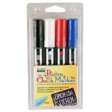 Bistro Chalk Markers, Chisel Tip 4-Color Set, White, Black, Red, Blue