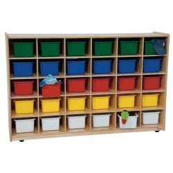 30-Tray Storage, 36H x 58W, With Color Trays, Natural