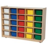 25-Tray Storage, 38H x 48W, With Color Trays, Strawberry Red™