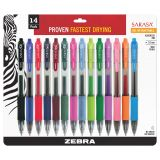 Sarasa® Gel Retractable Gel Pens, Assorted 14-Pack with Case
