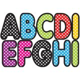 2-3/4 Designer Magnetic Letters, Assorted Color Polka Dot
