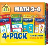 Math 3-4 Flash Cards 4-Pack
