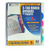 C-Line® 5-Tab Poly Index Dividers, With pockets
