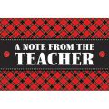 Plaid Note From the Teacher Postcards