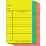 Library Cards, Bright Assorted, Box of 500