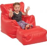 Bean Bag Chair & Ottoman Set, Red